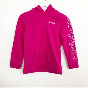 Adidas Girls Pullover Hoodie Top Kangaroo Pocket